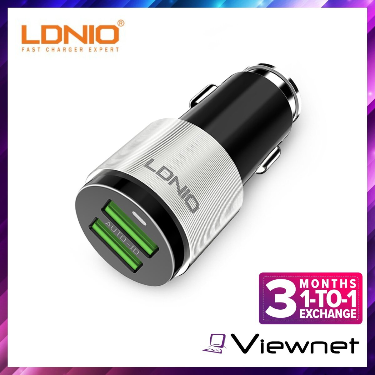 Ldnio C403 In-Car Combo 4.2A Auto ID Dual-USB QC3.0 Car Charger Input DC12V-24V, Output DC5V 18W