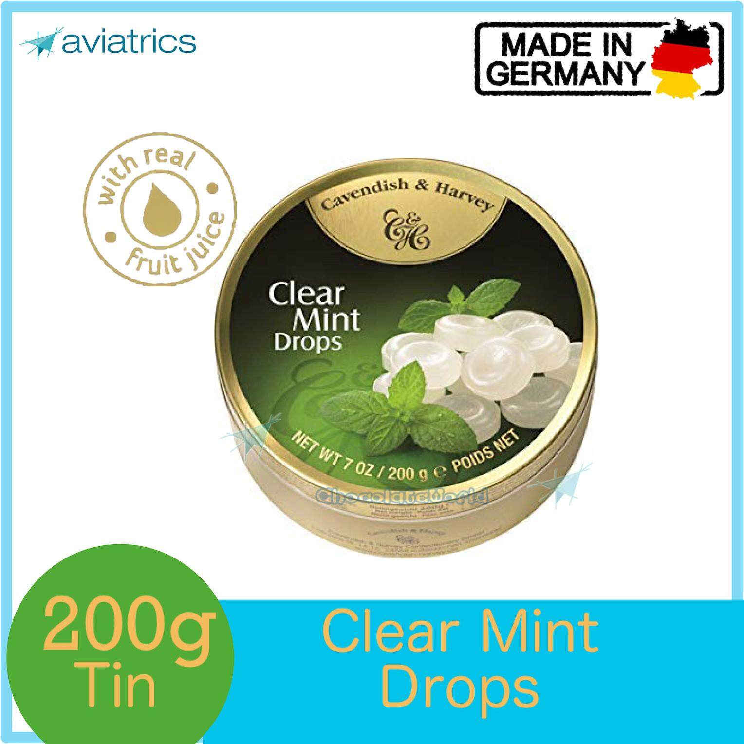 Cavendish Harvey Clear Mint Drops 200g (Made in Germany)