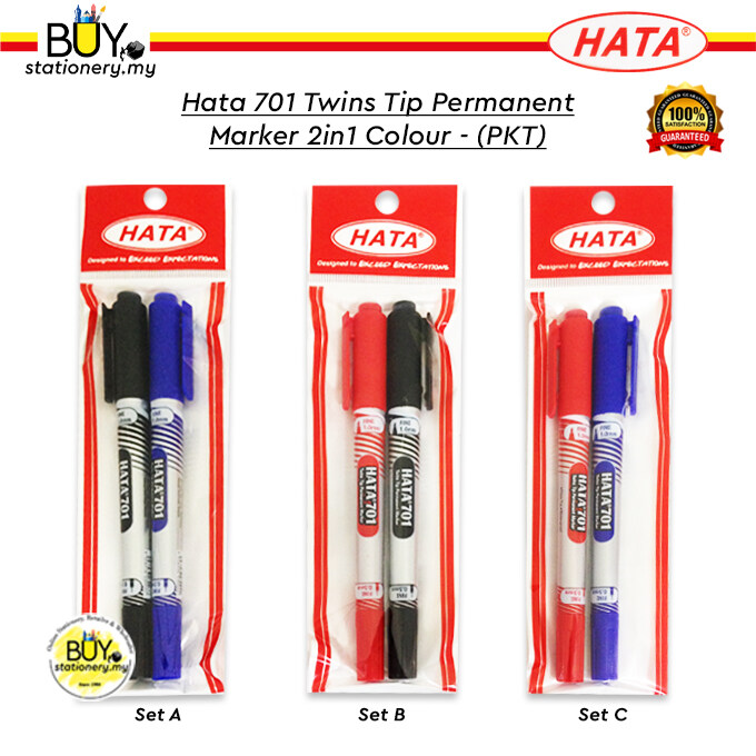 Hata 701 Twins Tip Permanent Marker 2in1 Colour - (PKT)