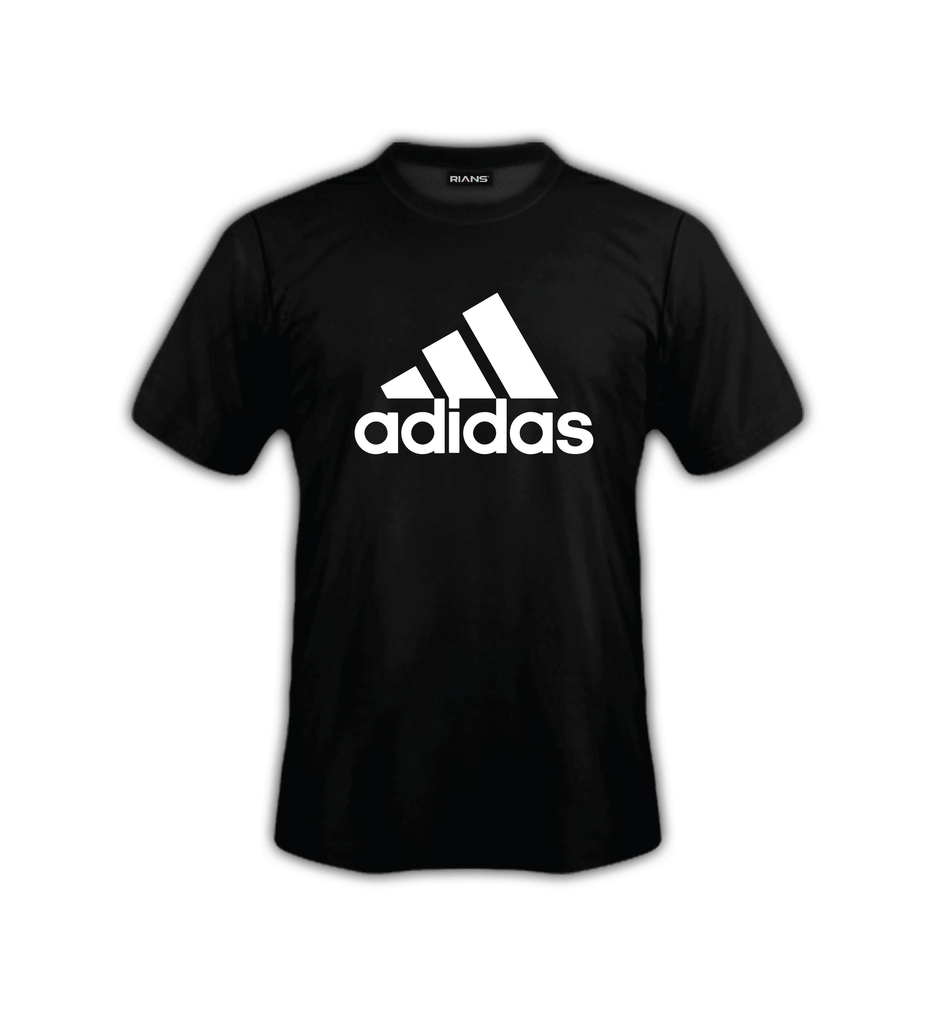 T-Shirt ADIDA.S FRONT Logo Strip 100% Cotton Baju Tshirt Black White Hitam Putih Bossku