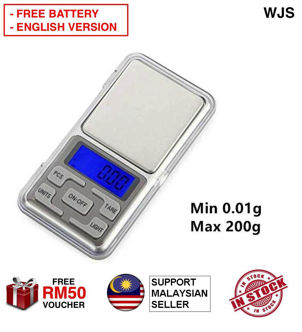 (FREE BATTERY) WJS 200g 0.01g Mini Portable Scale Pocket Scale Digital Scale Jewellery Weighing Pocket Scale Travel Scale Kitchen Scale Weighing Tool [FREE RM50 VOUCHER]