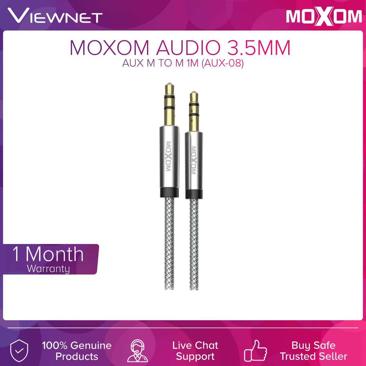 Moxom (AUX-08) Audio 3.5mm Aux Cable 1M (Silver)