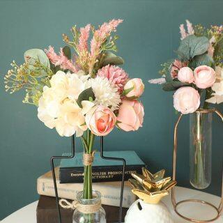 Bó hoa hồng mới với lá bạch đàn Hoa Lụa Nhân Tạo cho trang trí đám cưới hoa giả cho cô dâu với màu xanh lá cây thumbnail