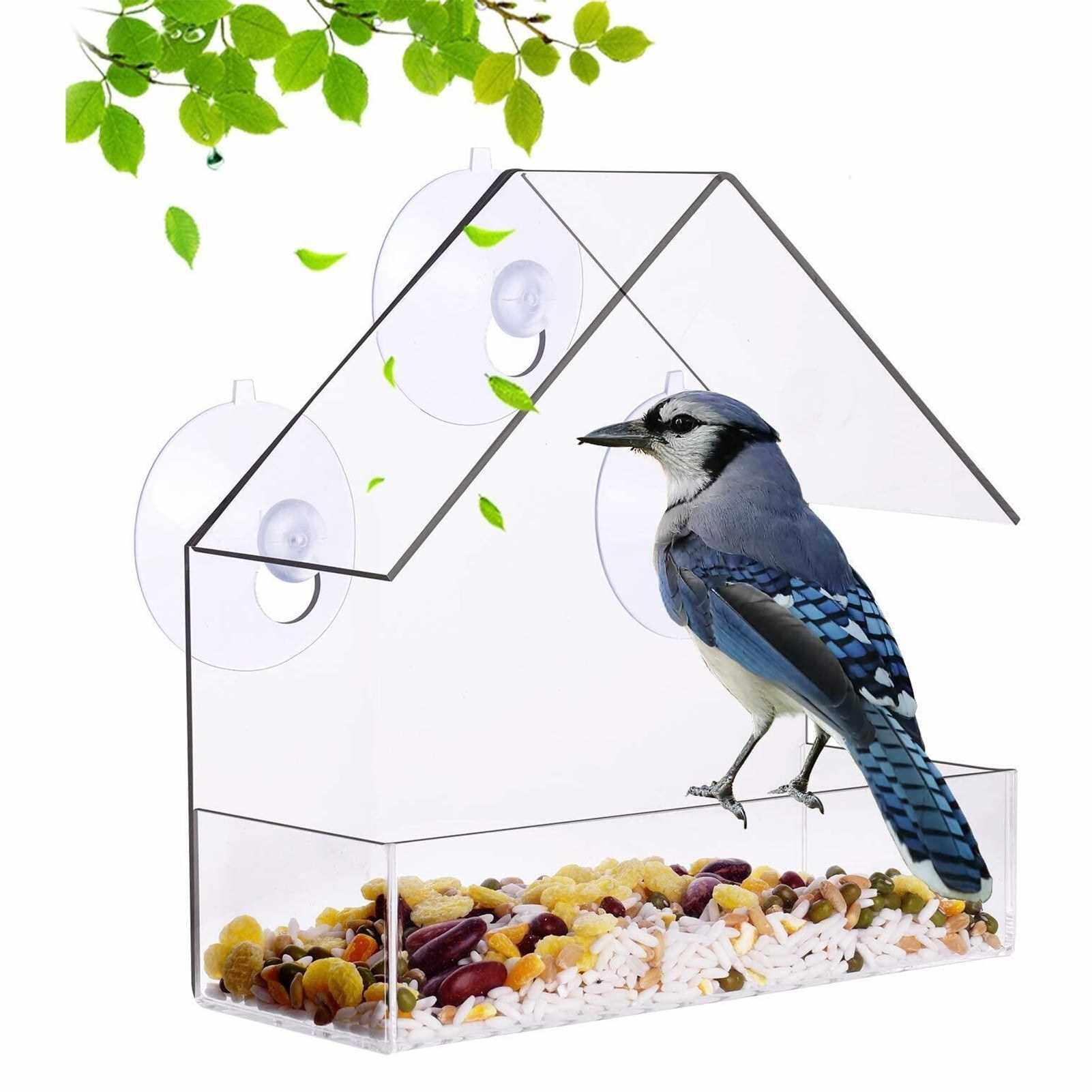 Wall-Mounted Suction Cup Mounting Bird Feeder Transparents Acrylic Lightweight Waterproof Bird Feeder (Standard)