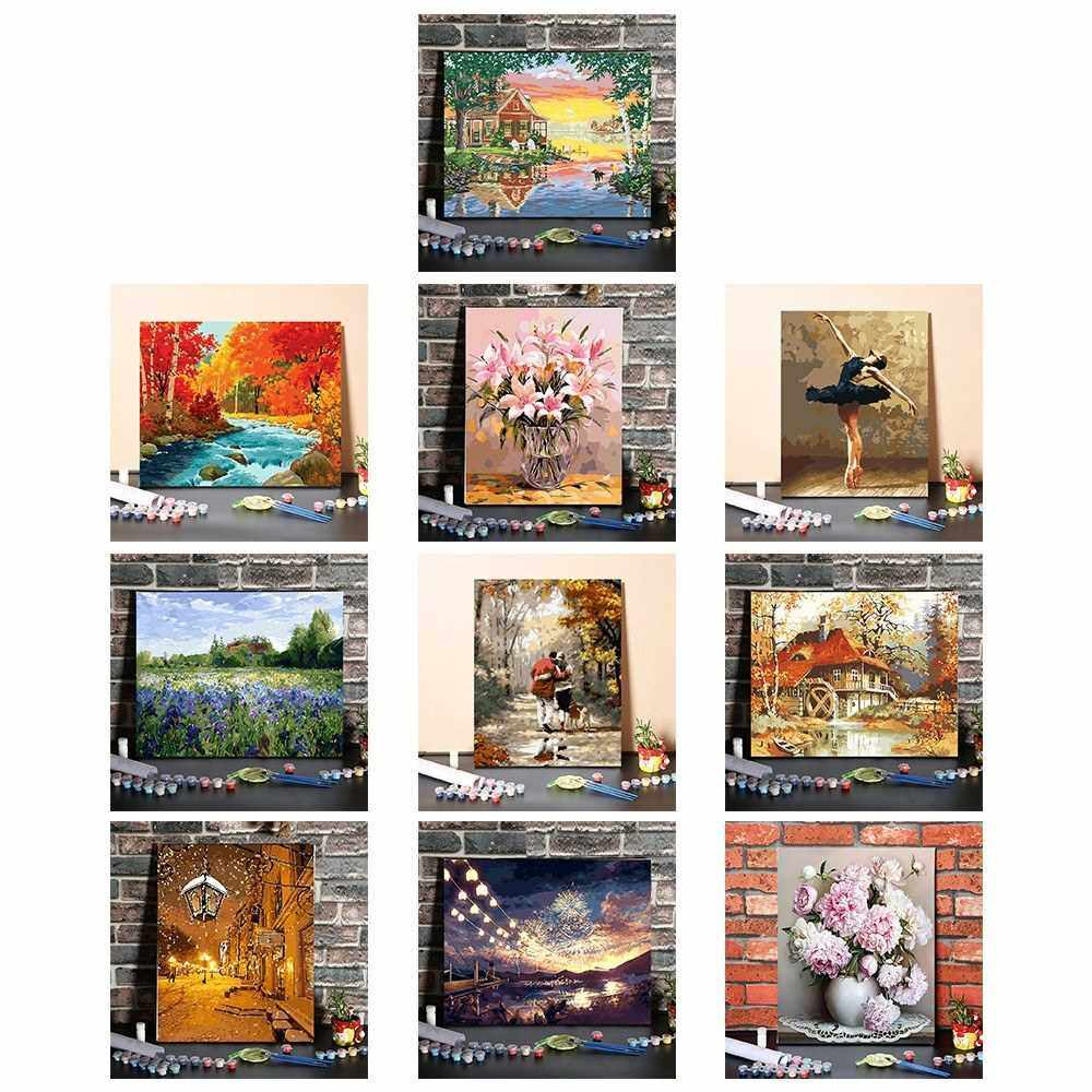 DIY Oil Painting Paint by Numbers Environmental Drawing Paintwork with Paintbrushes and Paint for Kids & Adults (9)