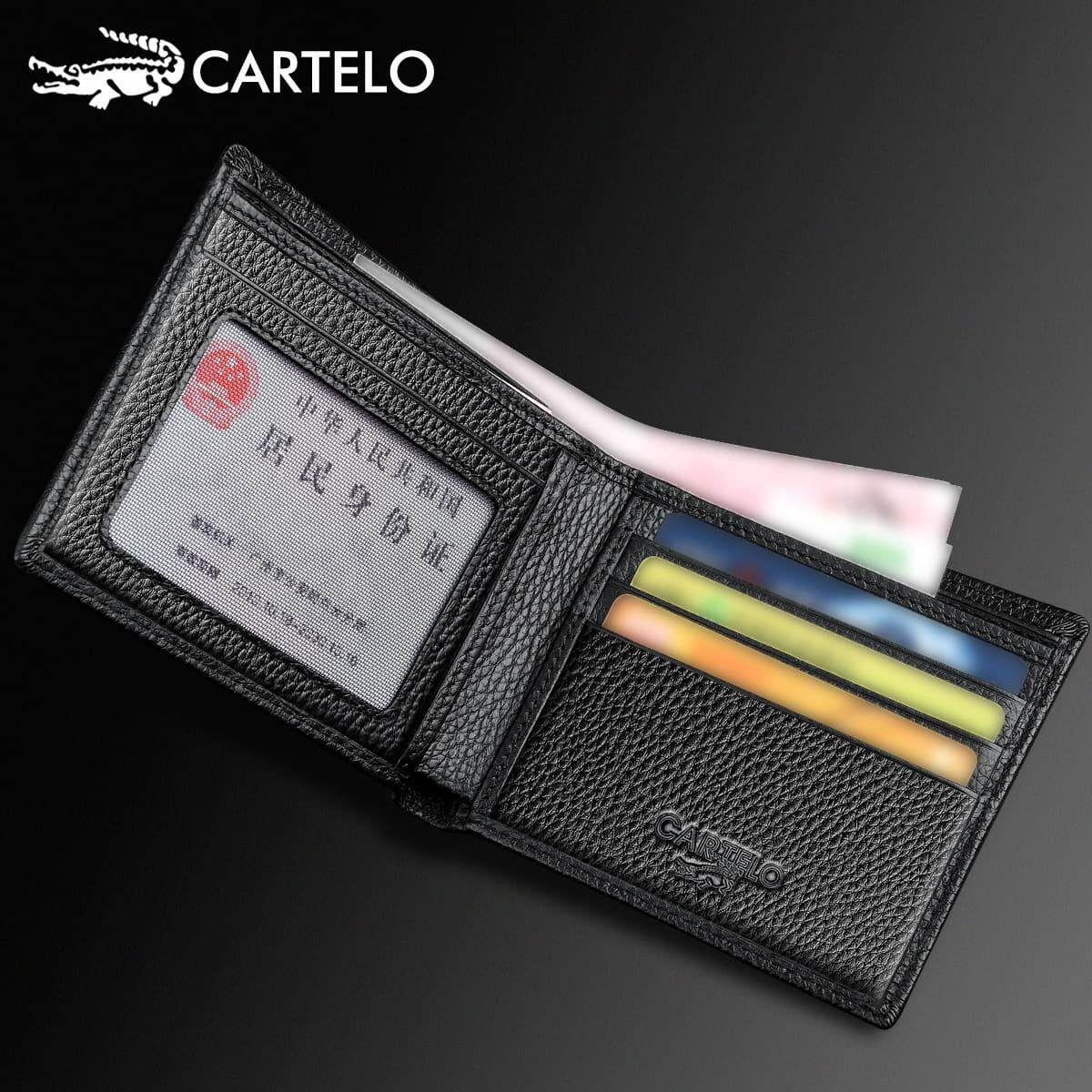 [Ready Stock] 100% Cowhide Leather Cartelo Since 1947 Singapore Men's Fashion Wallet Bi-Fold / Vertical Fengshui Perfect Gift For Love One (Come With Box) Clutch Card Coins Cash Slot With Zip Portable Hand Carry Bag Top Material Halal Dompet Kulit