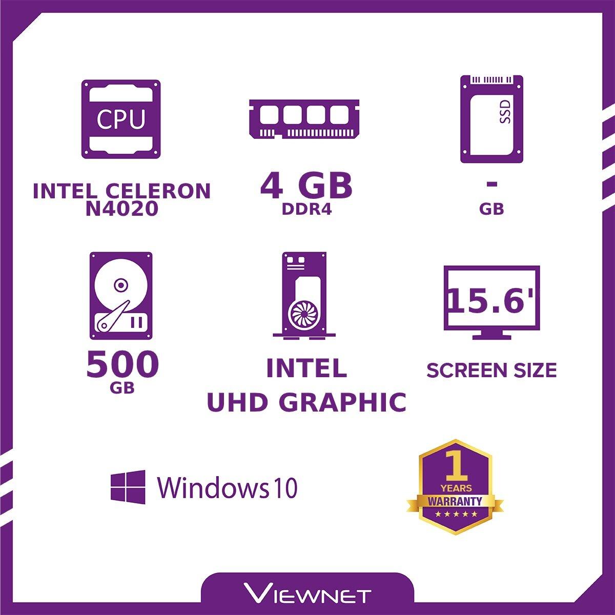 ASUS VIVOBOOK A509M-ABR101T LAPTOP INTEL CELERON N4020 4GB DDR4 500GB HDD INTEL HD W10 15.6