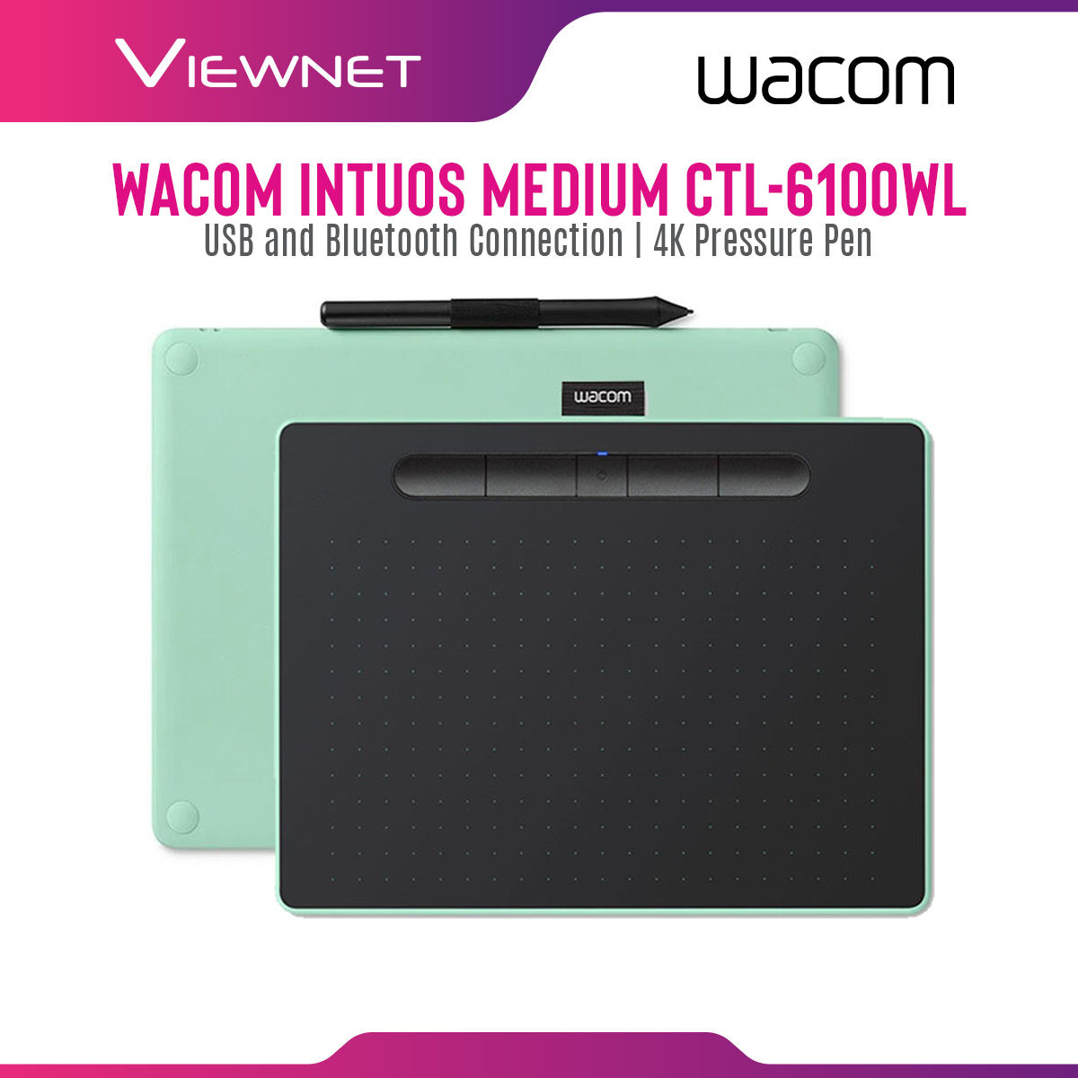 Wacom Graphic Tablet Intuos Bluetooth Medium CTL-6100WL with USB and Bluetooth Connection, 4 Customizable ExpressKeys, 4K Pressure Pen