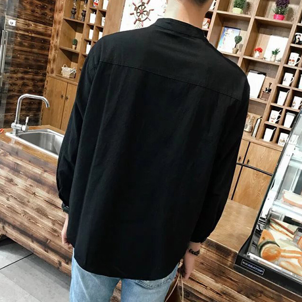 Man Leisure Simple Shirt Stand Collar Loose Casual Shirts Long Sleeves Cotton Linens Shirts