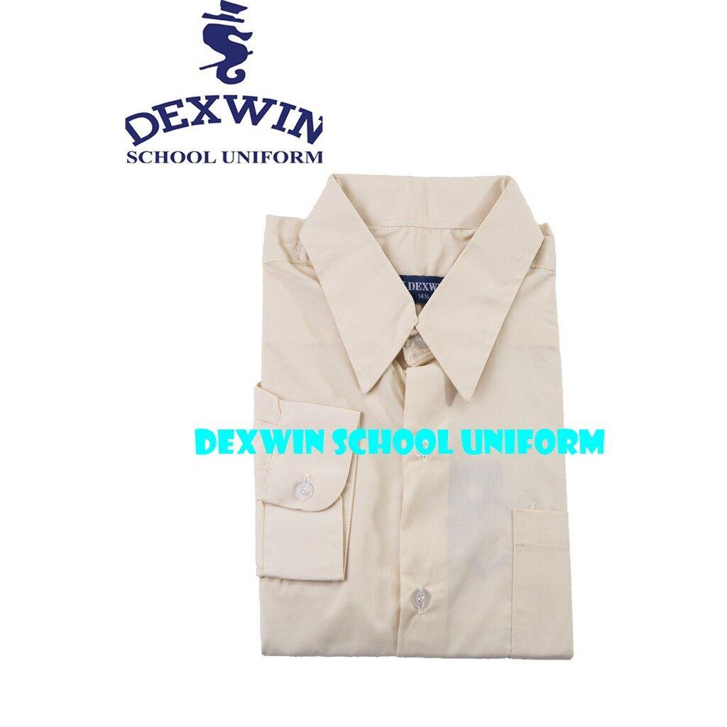 kemeja warna beige pengawas sekolah shirt lengan panjang cotton