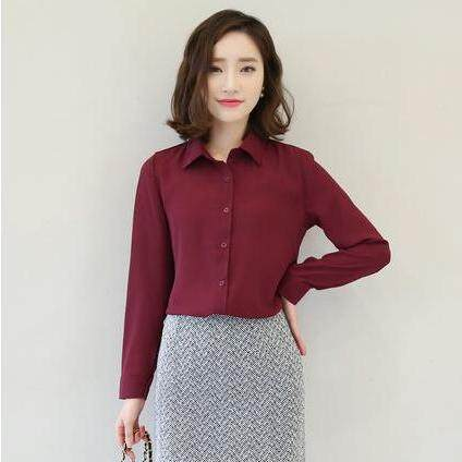 (Pre Order14 Days JYS Fashion Korean Style Women OL Top Collection-5177437col517-7437--Wine Red -S