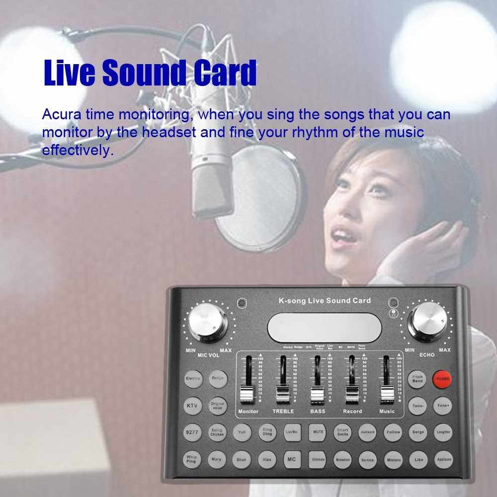 Phone Microphone Voice Music Professional Audio USB Headset Entertainment Singing K-song Live Sound Card F007 (Black)