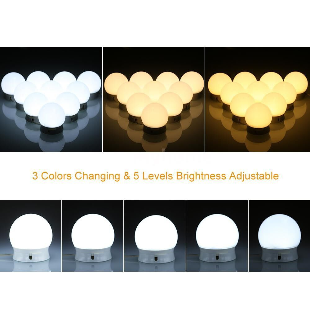 Lighting - DC5V 10W 10 LED Vanity Dimmable Mirror Light Kit USB Powered Operated Memory Function 5 Levels - WHITE
