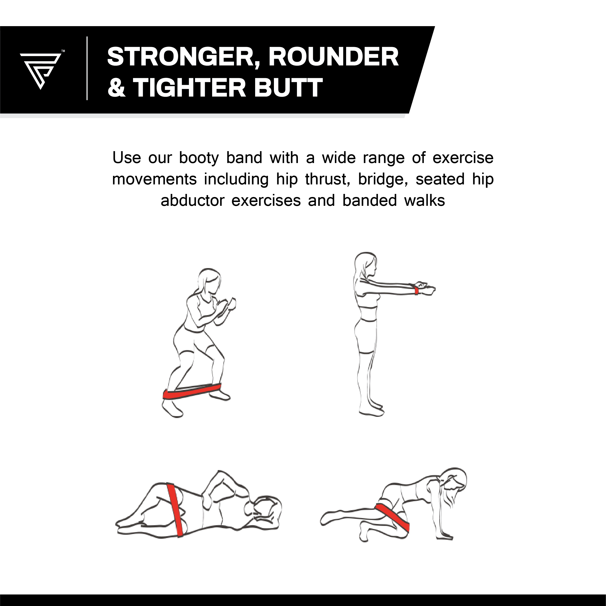 FITUALIZED Adjustable Booty Band for Stronger, Rounder & Tighter Hip - Multiple Resistance for More Results - Comfy Fabric Non - Slip for Enjoyable Glutes Workout, Exercise & Training at Home or Gym - aka Hip Circles & Glute Loops