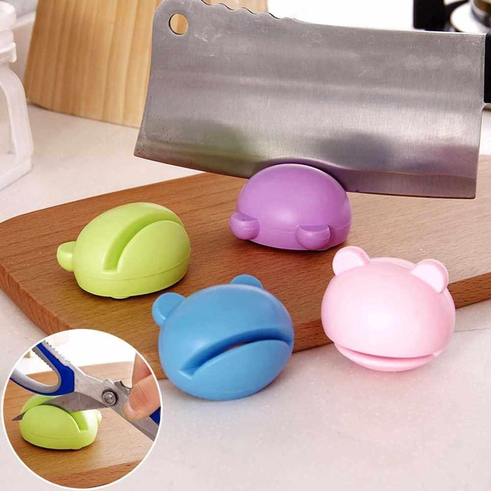 Home Kitchen Sharpening Stone Mini Cartoon Cutter Sharpener Scissors Grinder Kitchen Tools (Blue)