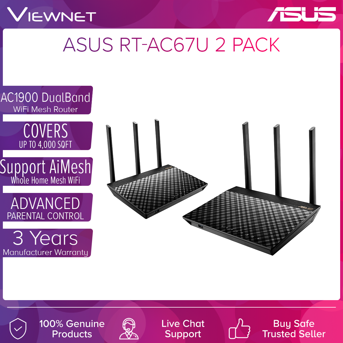 Asus RT-AC67U AC1900 AiMesh Gigabit Router (2 Pack)