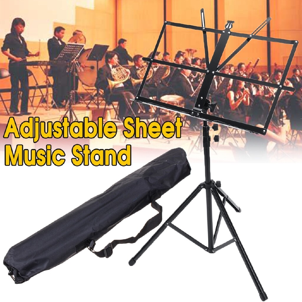 Cases, Covers and Bags - Metal Foldable 70-140CM Adjustable Sheet Music Tripod Stand Holder+Carry Bag - Camera Accessories