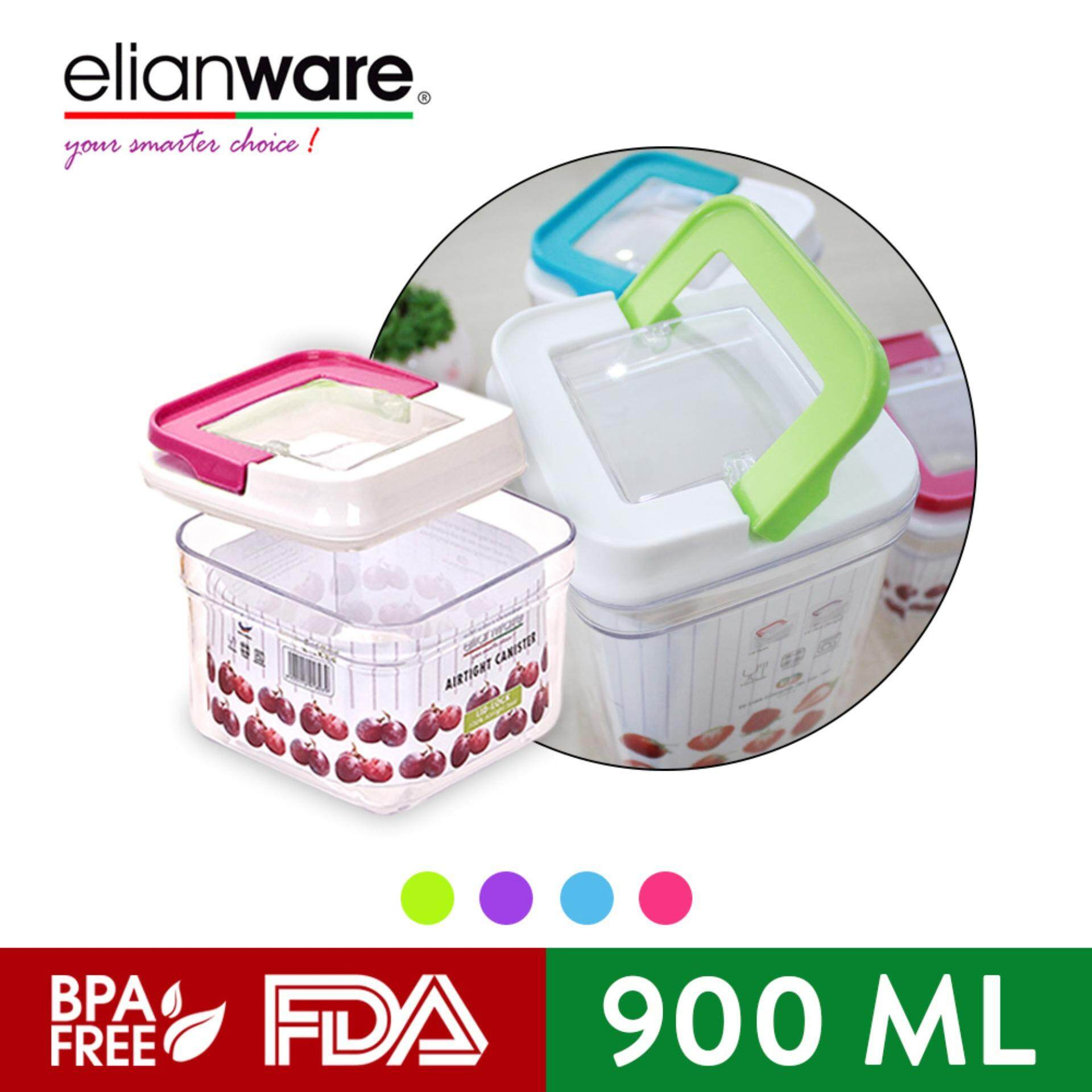 Elianware 900ml Elegant Glass-Like Airtight Canister Clear Container Multipurpose Food Storage Keeper Box
