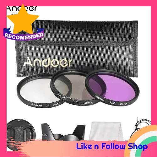 Andoer 52mm Filter Kit (UV+CPL+FLD) + Nylon Carry Pouch + Lens Cap + Lens Cap Holder + Lens Hood + Lens Cleaning Cloth (Standard)