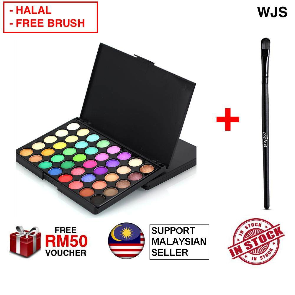 (FREE HALAL BRUSH) WJS HALAL 40 Colors Matte Luminous Eyeshadow Palette Cosmetic Mini Portable 40 Eye Shadow BROWN MULTICOLOR (FREE RM 50 VOUCHER)