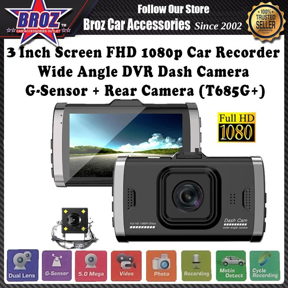 3 Inch Screen Full HD 1080p Car Recorder Wide Angle Dual Lens DVR Dash Camera G-Sensor + Rear Camera (T685G+)