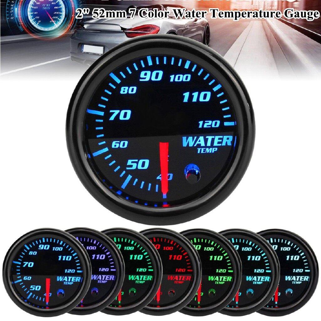 Gauges & Meters - Universal 2 52mm Black 7 Colors LED Water Coolant Temperature Temp Gauge Meter - Car Accessories