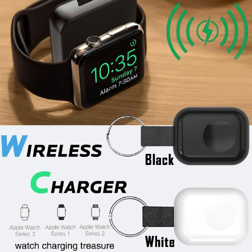 Chargers - 700mAh PORTABLE WIRELESS Magnetic For Apple Watch Charger Power Bank Certified - WHITE / BLACK