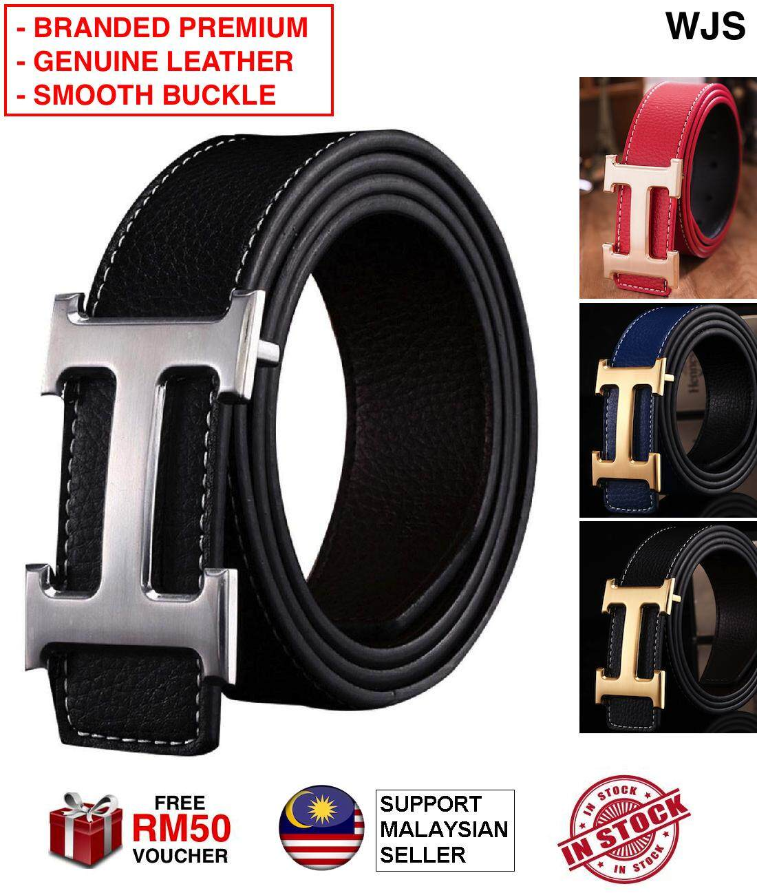 (PREMIUM BRANDED) WJS Original Genuine PU Leather H Belt Smooth Buckle Belt Men Belt Gentleman Belt Man Belt Office Belt Working Belt Professional Belt Casual Belt Hermas Belt Herms Belt Herme Belt Hermess Belt BLACK BLUE WHITE RED [FREE RM 50 VOUCHER]