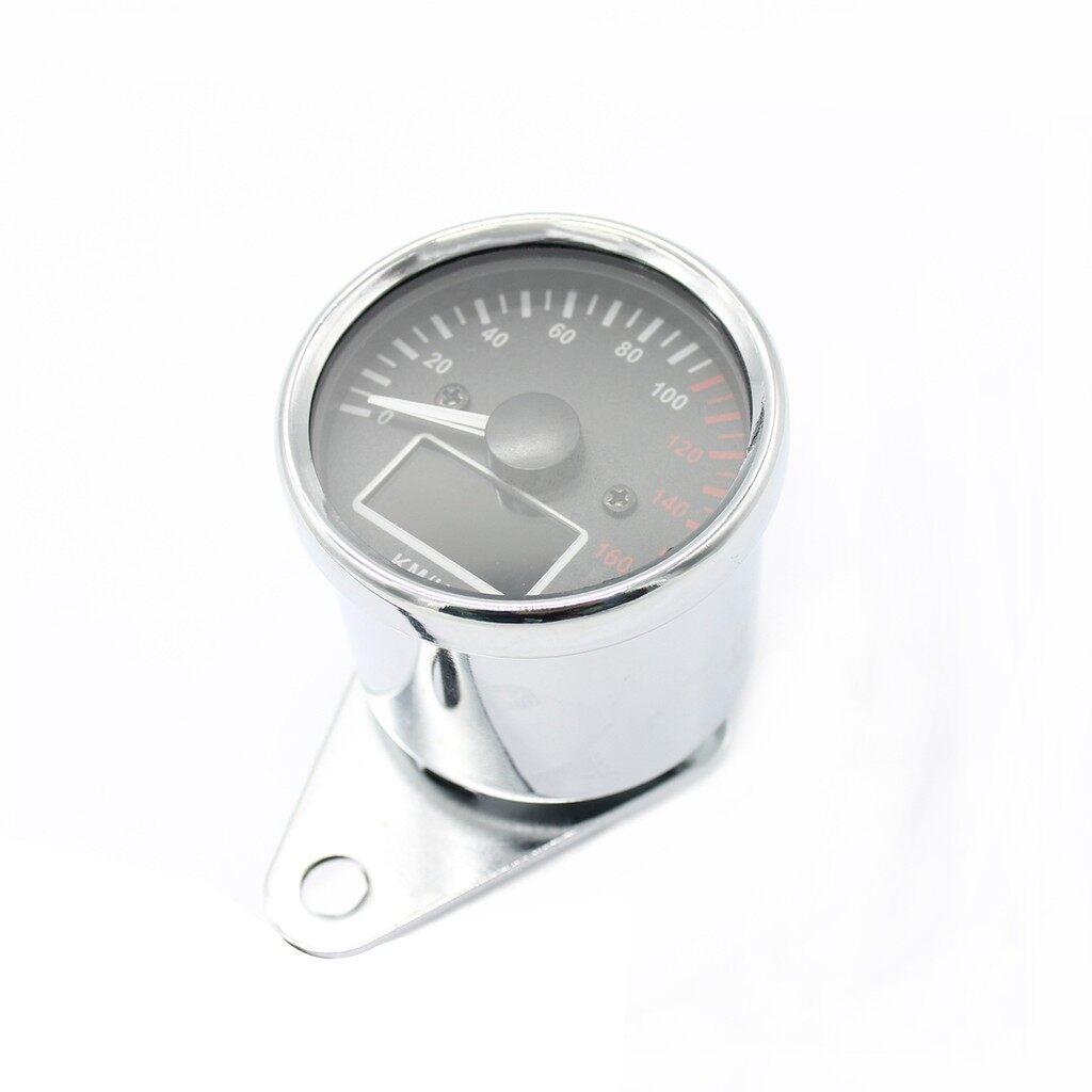 Moto Accessories - Universal KMH Motorcycle Fuel Level Meter Digital LCD Odometer Speedometer Gauge - SILVER / BLACK