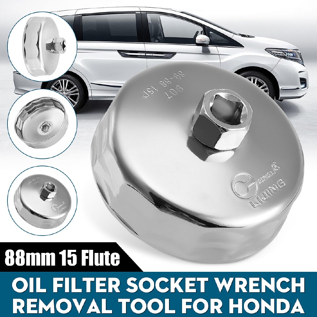 Car Lights - 88mm 15 Flutes Oil Filter Wrench Cup Chrome For Honda I-Dtec Diesel Fuel Filters - Replacement Parts