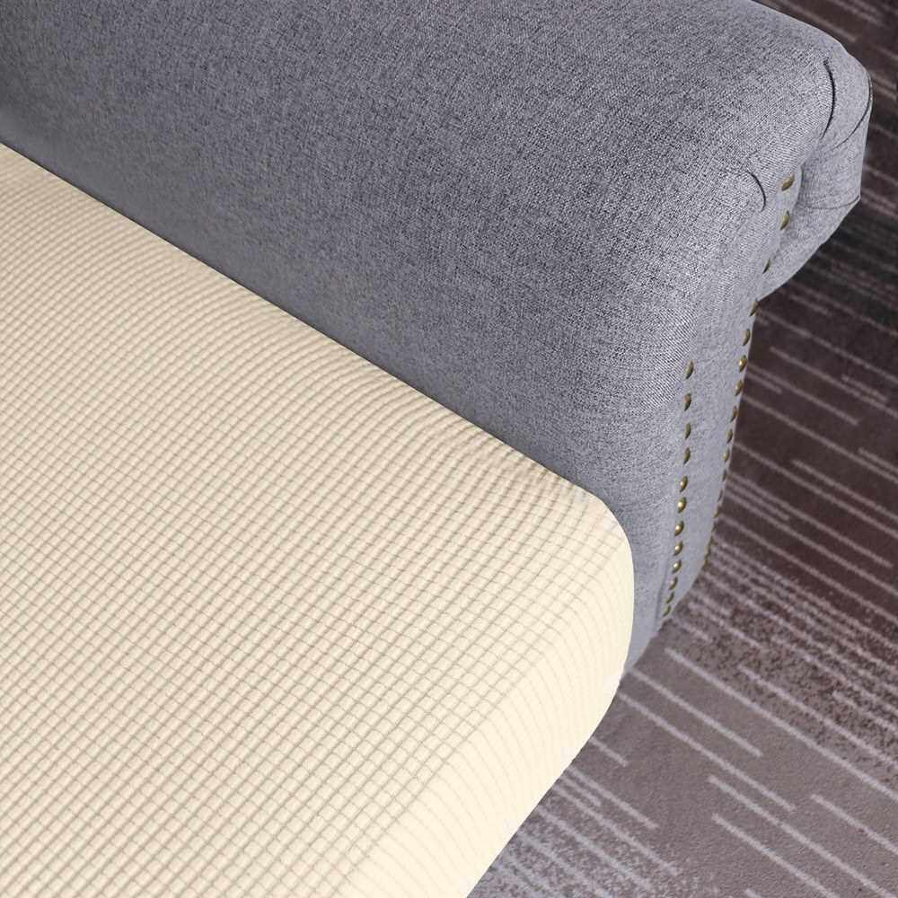 People's Choice Sofa Seat Slipcovers Couch Cushion Covers 1 Seater Stretch Spandex Non Skid Jacquard Fabric Furniture Protector Washable (Beige) (Beige)