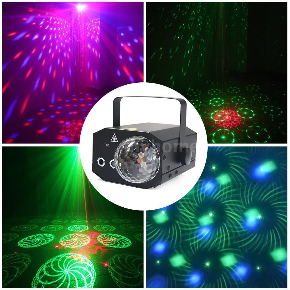 Lighting - 16 Patterns La-ser Projector RGB Stage Light Disco LED Magic Ball Party Lights Souns Active Music - Home & Living
