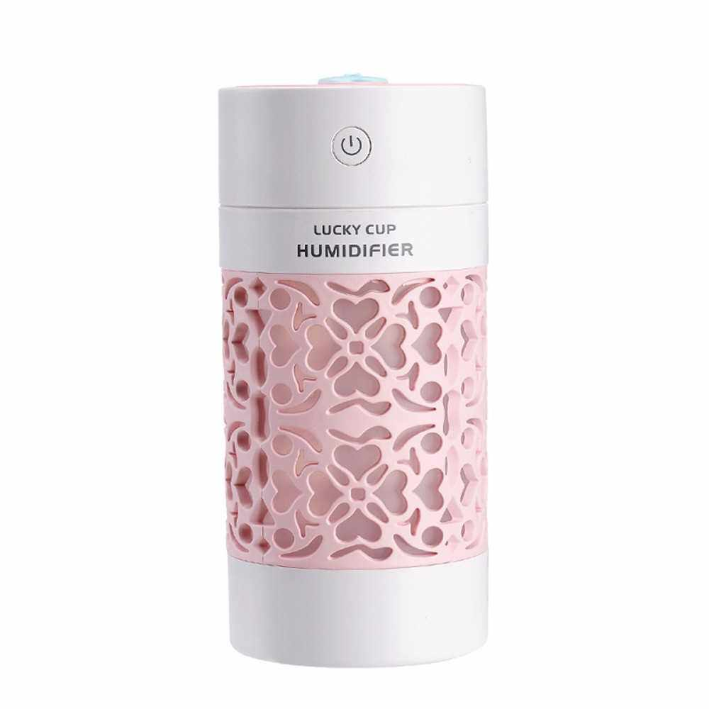 Best Selling SQT-J01 250ml Hollow Carving Air Humidifier 3 in 1 for Car/Home/Office (Pink)