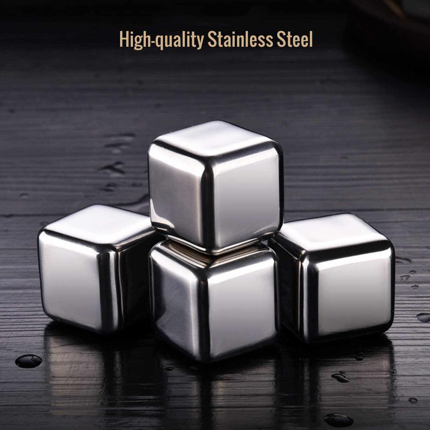 Best Selling 304 Stainless Steel Ice Cube Set of 4 Reusable Chilling Stones with Plastic Case for Whiskey, Vodka, Beer, Wine, Drinks (Standard)