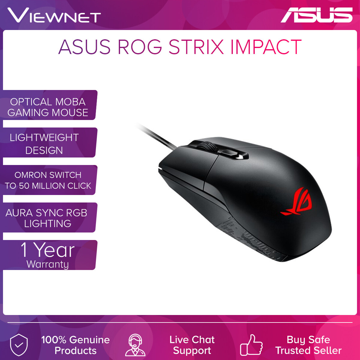 MOUSE ASUS WIRED ROG STRIX IMPACT 5000DPI (P303)