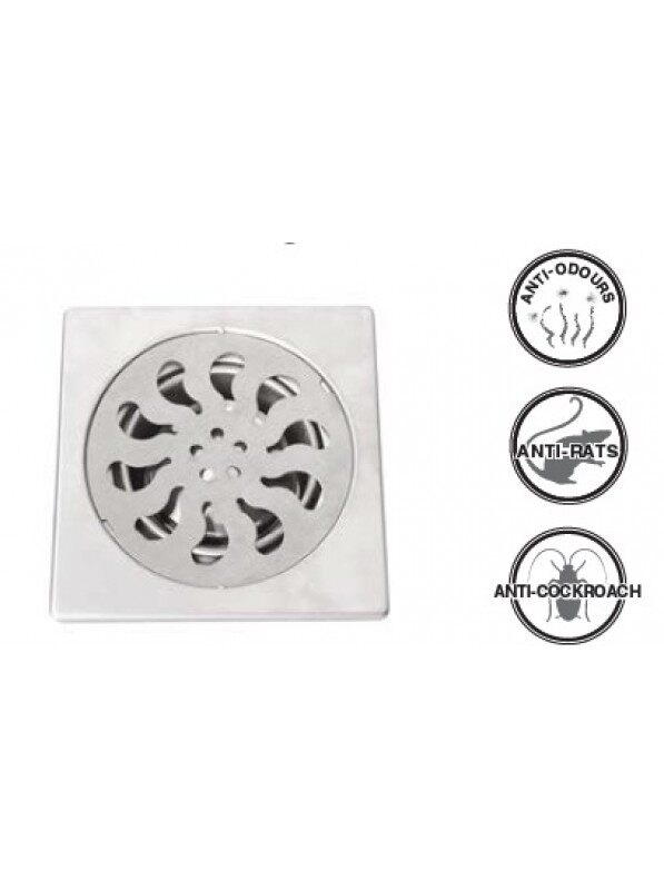 """Stainless Steel Floor Grating W/Filter W/Drain Anti-Cockroach 6""""x6"""""""