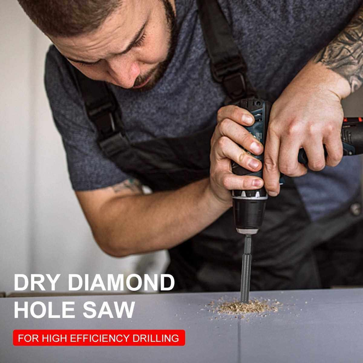 Dry Diamond Hole Saw 4-Piece Drill Bit Set (6mm, 8mm, 10mm, 12mm) with Hex Head Cooling Wax for Porcelain Tile Ceramic Granite Marble Stone Masonry Brick (Standard)