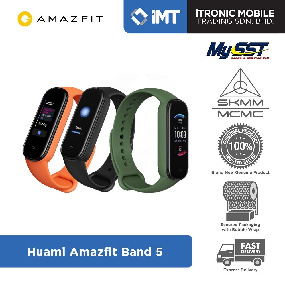 [MY] Huami Amazfit Band 5 Smartwatch Black/Orange/Olive - Original Malaysia Set