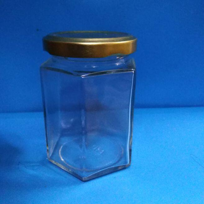 14pc.of 180ml hexagon shape glass jar with metal cap