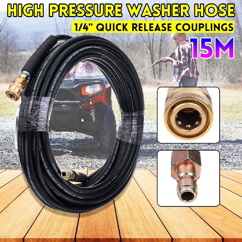 Wash & Wax - 5/10/15M 40MPa High Pressure Washer Cleaning Hose 1/4\'\' Quick Release Couplings - Car Care