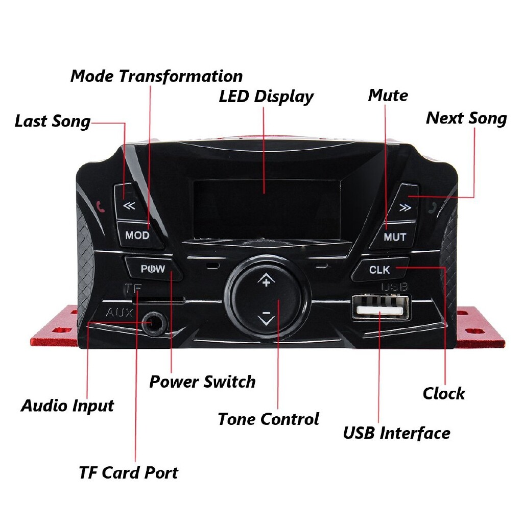 Moto Accessories - Waterproof Motorcycle Audio MP3 USB Alarm FM BLUETOOTH Amplifier Anti-theft 88DB - Motorcycles, Parts