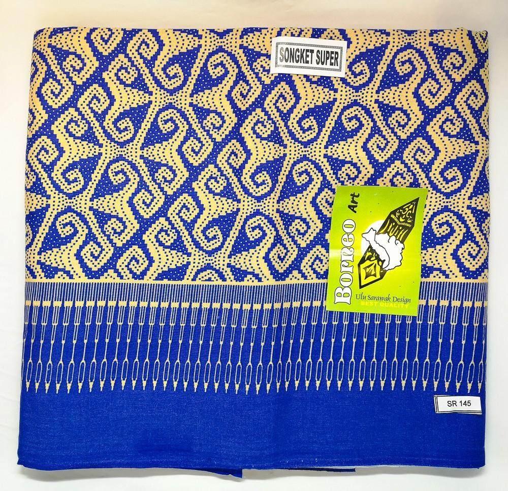 Sarung Borneo Traditional Art Ulu Sarawak Design Blue