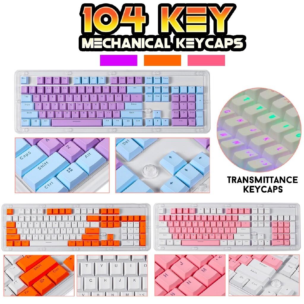 Keyboards - Cherry MX Mechanical Keyboard KeyCaps 104 Keys PBT Double Backlit SET - ORANGE / PURPLE / PINK