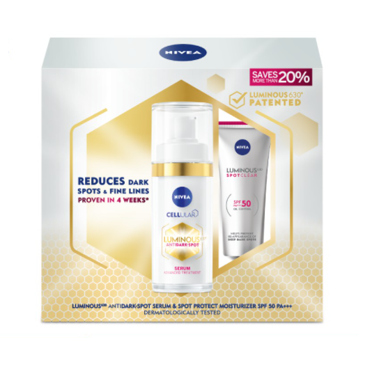 Nivea Luminous630 Anti Dark Spot Gold Treatment Set (Serum 30ml + Spot Protect SPF50 PA+++ 40ml)