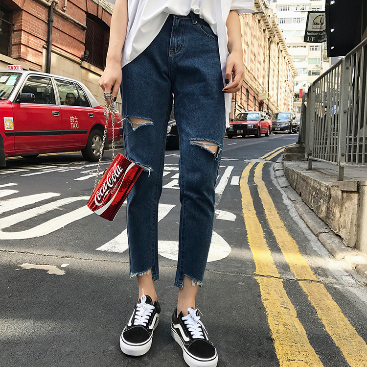 (PRE ORDER) WOMEN RIPPED JEANS STRAIGHT TUBE LOOSE SPRING HIGH WAIST PANTS WITH LARGE SIZE