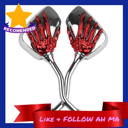 Best Selling 1 Pair Universal Motorcycle Aluminum Alloy Handlebar Skull Hand Pattern Ghost Claw Adjustable Rearview Side Glass Mirror Modified Accessories for Street Cars Scooters (Red)