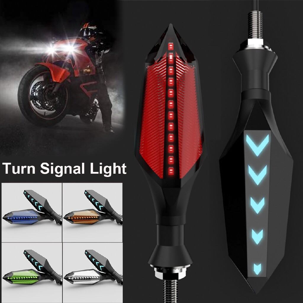 Moto Accessories - DRL 12V Motorcycle LED Turn Signal Light Flow Type Warning Light 12 Chips - RED / YELLOW / BLUE