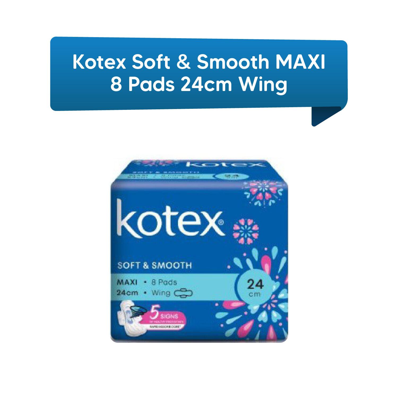 Kotex Soft & Smooth Maxi 8 Pads 24 cm Wing