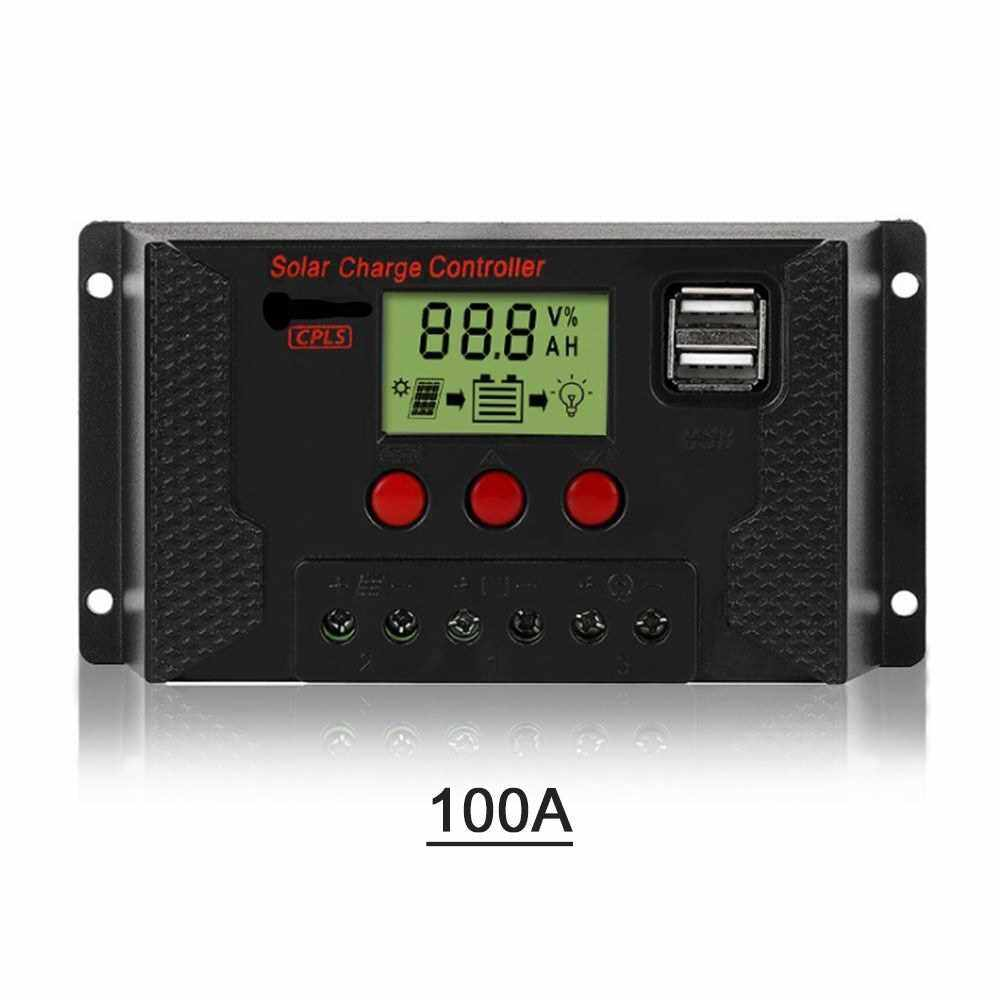 People's Choice 100A Solar Charge Controller, Solar Panel Controller 12V/24V Adjustable LCD Display Solar Panel Battery Regulator with Dual USB Port, Charge 3 Kinds of Batteries (Black)