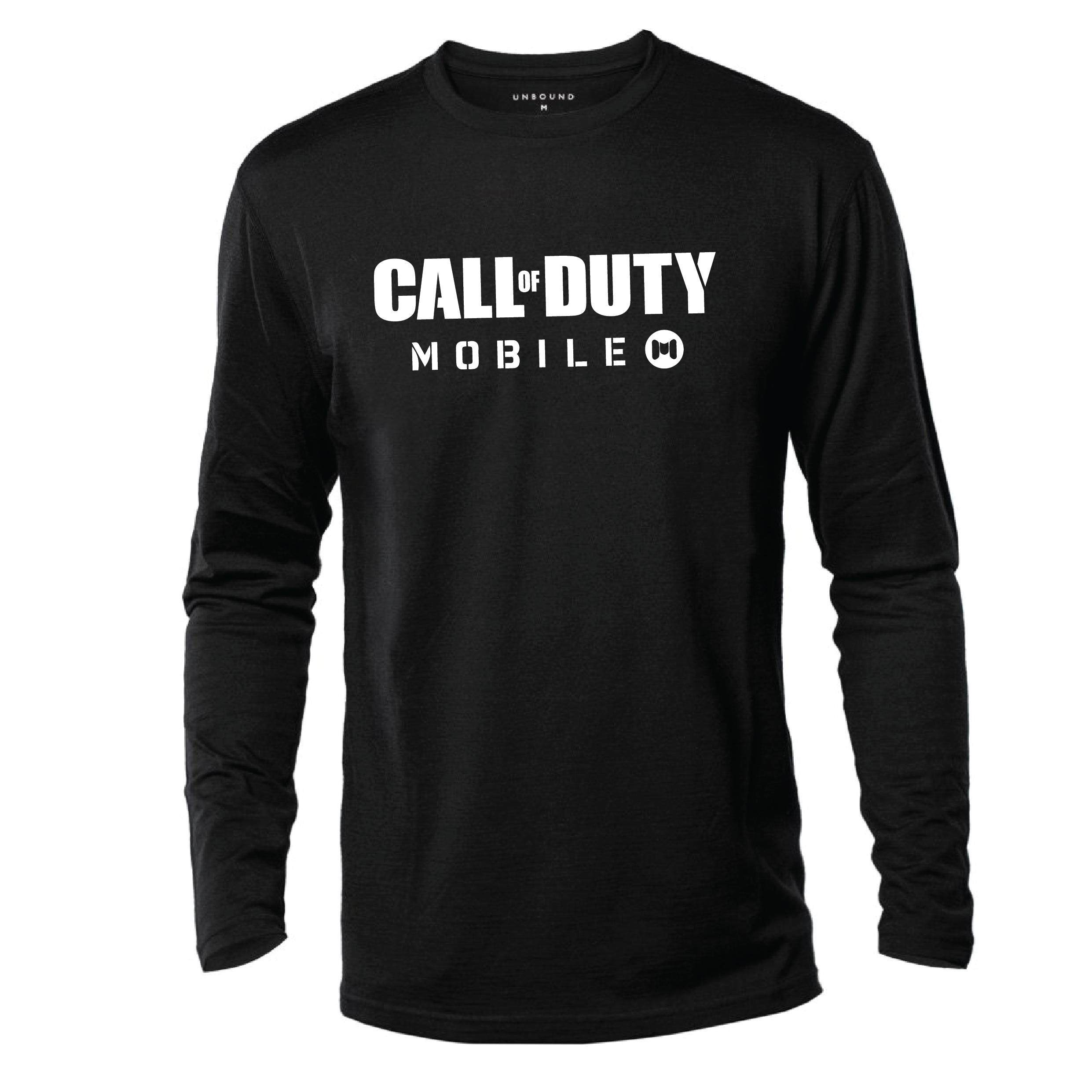 T-Shirt CALL OF DUTY MOBILE Front Printed Lengan Panjang 100% Cotton Baju Tshirt Black White Hitam Putih Bossku